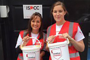 Two women collecting for ISPCC
