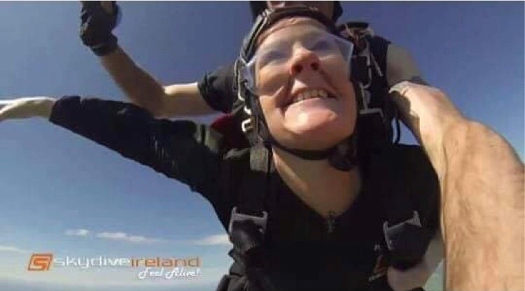 Childline Volunteer Dee Higgins Skydiving